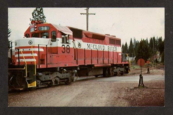 Mccloud River Railroad. CA View of the McCLOUD River Railroad Train Locomotive No 38 at McCloud CALIFORNIA CALIF Postcard RR PC